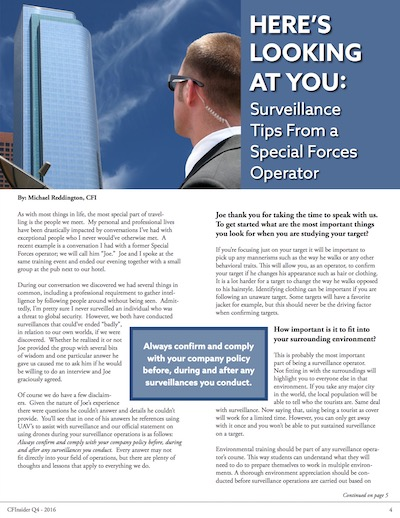 Article: Here's looking at you: Surveillance Tips From a Special Forces Operator