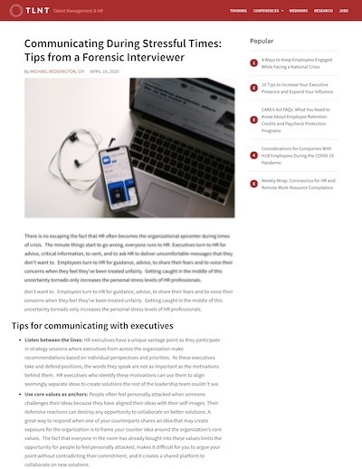Article: Communicating During Stressful Times: Tips from a Forensic Interviewer