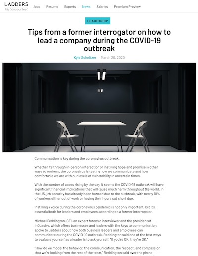 Article: Tips From a Former Interrogator - How to lead a company during the COVID-19 outbreak