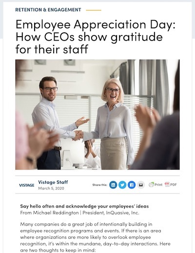 Article: Say hello often and acknowledge your employees' ideas