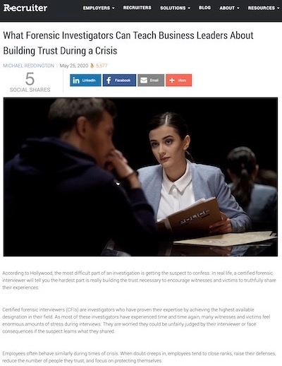 Article: What Forensic Investigators Can Teach Business Leaders About Building Trust During a Crisis